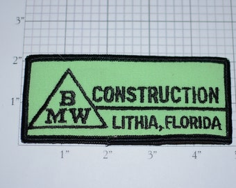 BMW Construction Lithia, Florida Sew-On Vintage Embroidered Clothing Patch for Employee Uniform Shirt Jacket Emblem Logo Workshirt Builder