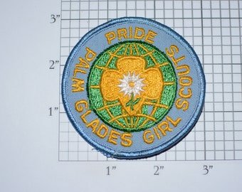 Palm Glades Girl Scouts Pride Vintage Iron-on Embroidered Clothing Patch Collectible Badge Girl Scouts Keepsake Memorabilia Memento