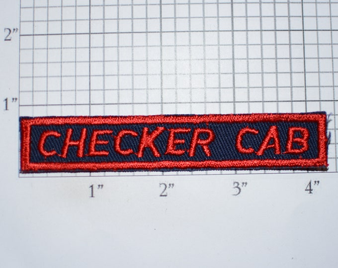 Checker Cab Red Sew-On Vintage Embroidered Clothing Patch for Driver Employee Uniform Shirt Jacket Text Emblem Worker Name Tag Work Shirt
