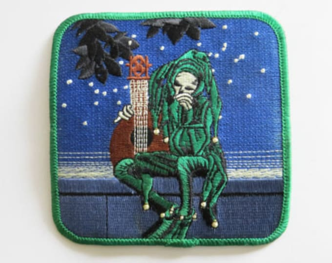 "Grateful Dead Jester, Vintage LICENSED Embroidered Iron-On Patch 4"" Stanley Mouse Lute Band Music Grim Reaper Hippie Patch Vest Greatful bb1"