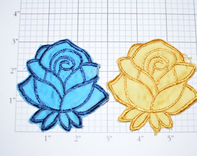 Rose Flower Vintage Sew-on Applique Patch DIY Craft Project Clothing Patch Embellishment Accessory Cute Gift Idea Yellow Blue Fabric e1