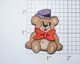 Cute Teddy Bear Bow Tie and Top Hat Iron-On Applique Vintage Embroidered Patch for Backpack Jeans Shirt Clothing Jacket Emblem Animal