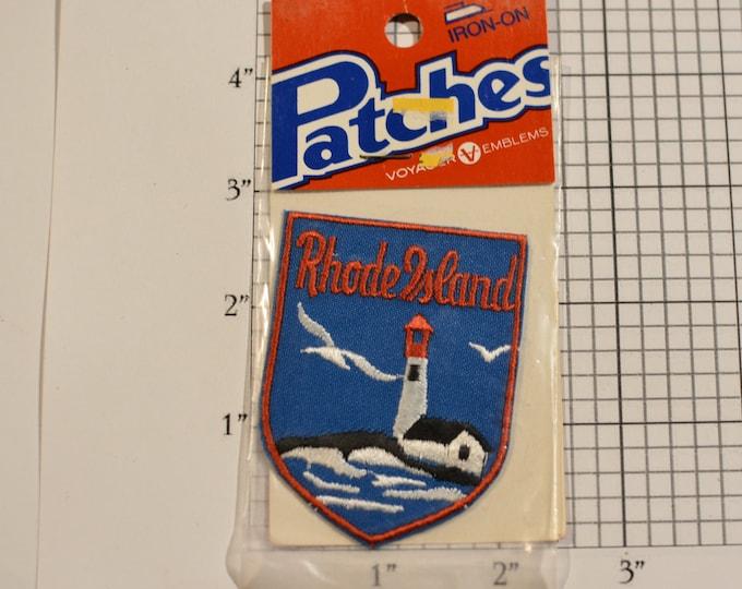 Rhode Island (Voyager Badge Sealed Pkg) Vintage Iron-on Travel Patch Souvenir Gift Idea Trip Scrapbook Tourist Keepsake Lighthouse Emblem