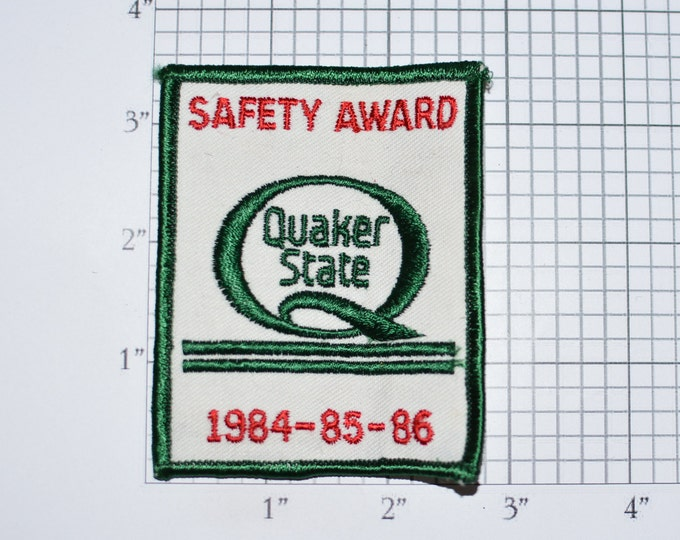 Quaker State Safety Award 1984 85 86 Sew-On Authentic Vintage Embroidered Patch Automotive Motor Oil Racing Gas Station Garage Uniform Shop