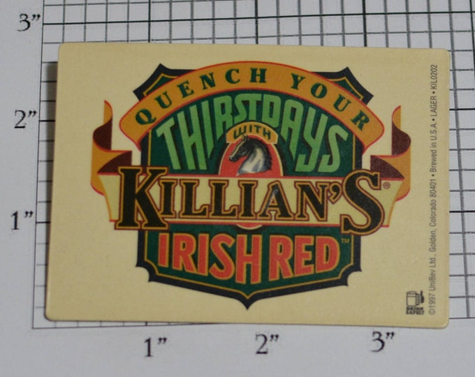 Killian's Irish Red Quench Your Thirstdays RARE Vintage Pinback Button 1997 Beer Advertising Breweriana Collectible Memorabilia