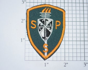 SPS or SSP Torch & Shield Iron-On Vintage Embroidered Clothing Patch for Jacket Vest Shirt Clothes Gift Idea Memento Monogram Initials Crest
