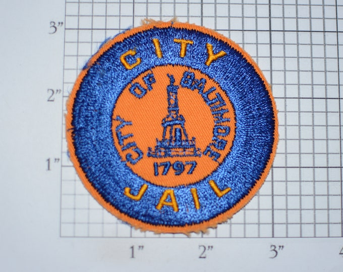City of Baltimore (Maryland) Jail Sew-On Vintage Embroidered Clothing Patch (No Border / Distressed ** Read Description) Uniform Collectible