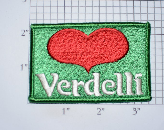 Verdelli Heart Logo Iron-On Vintage Embroidered Clothing Patch for Employee Uniform Work Shirt Jacket Vest Hat Emblem Cute Fun Collectible