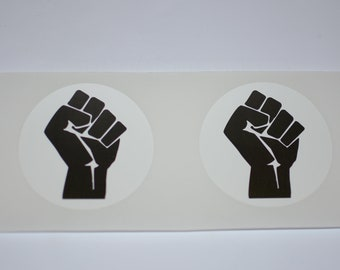 "Black Raised Clenched Fist 3"" Diameter Decal Stickers (Set of 2, Weatherproof) for Vehicle Laptop Wall & More, Solidarity Unity Resistance"