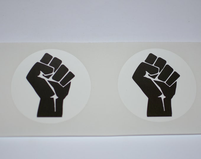 """Black Raised Clenched Fist 3"""" Diameter Decal Stickers (Set of 2, Weatherproof) for Vehicle Laptop Wall & More, Solidarity Unity Resistance"""