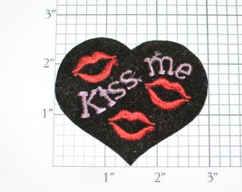 Kiss Me Lips Heart Vintage Iron-on Embroidered Clothing Patch for Jeans Jacket Vest Backpack Shirt Hat Panties Butt DIY Cute Fashion Accent
