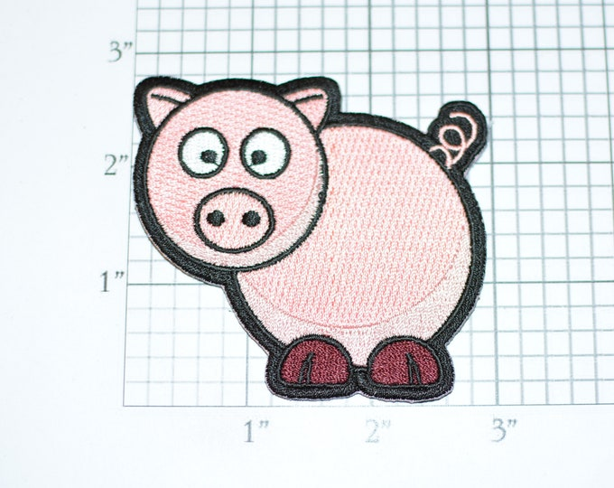 Cute Pink Pig Piggy Farm Animal Curly Pigtail, Iron-On Embroidered Clothing Patch for Fun Funny Applique DIY Clothes Clothing Kids Girls