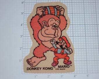 Donkey Kong and Mario RARE 1981 Vintage LICENSED Iron-on Clothing Patch Collectible Memento Keepsake Memorabilia Video Game Legend Nintendo