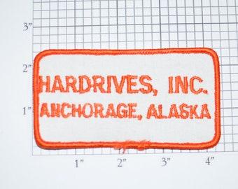 Hardrives, INC Anchorage Alaska Vintage Iron-on Embroidered Clothing Patch Uniform Shirt Jacket Vest Hat Insignia Logo Emblem PC Computer