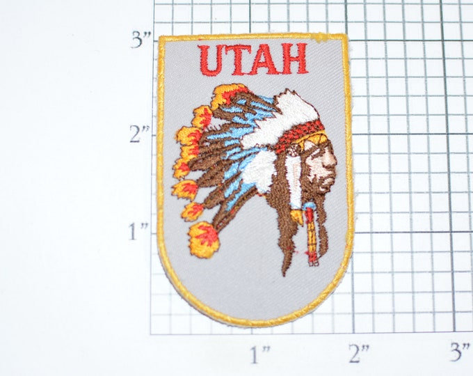 UTAH Native American Headdress Iron-on Vintage Travel Patch Trip Souvenir for Jacket Vest Backpack Keepsake Gift Scrapbook Crest Indian Logo