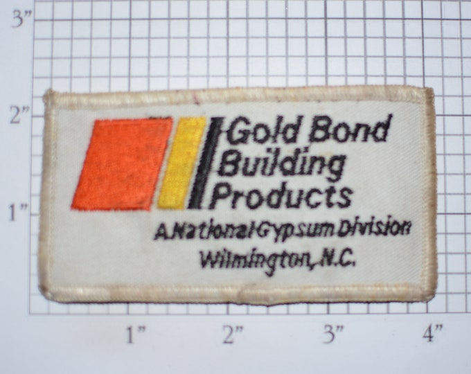 Gold Bond Building Products A National Gypsum Division Wilmington, NC Sew-On Vintage Embroidered Patch (Dirty/Dingy) for Employee Uniform
