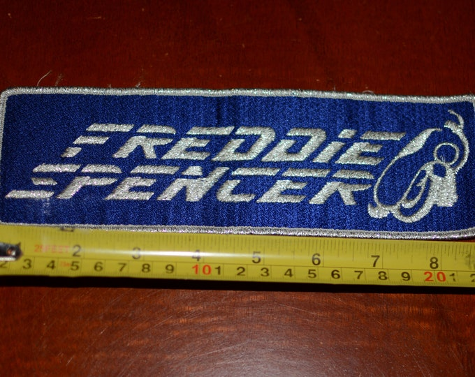 Freddie Spencer Metallic Silver Threading Vintage Embroidered Iron-on Clothing Patch Racing Memorabilia Motorcycle Racing Champion Memento