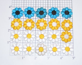Flower Iron-on Patch Appliqué Lot (20 pieces) - Mixed Colors - Small Cute Adorable Perfect for Dolls, Cards, Embellishment Crafting Etc