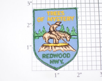 Trees of Mystery Redwood Hwy (Klamath California) Vintage Iron-On Embroidered Patch Emblem Badge Vacation Souvenir Collectible Gift Idea