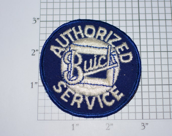 Authorized Buick Service Sew-On Authentic Vintage Embroidered Clothing Patch Auto Brand Collectible Garage Mechanic Tech Car Guy Man Cave