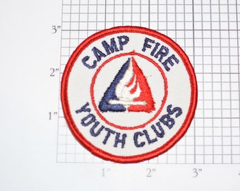 Camp Fire Youth Clubs Sew-On Vintage Embroidered Clothing Patch Uniform Shirt Jacket Badge Insignia Logo Collectible Keepsake Outdoor Nature