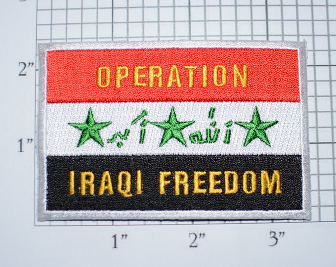 Operation Iraqi Freedom Iron-on Embroidered Clothing Patch Military Veteran Armed Service Memorabilia Biker Jacket Vest Emblem Vet Gift Idea