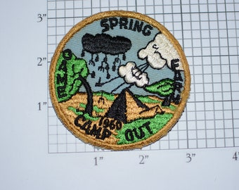 1960 Spring Camp Out Game Farm Boy Scouts BSA RARE Vintage Sew-on Embroidered Patch Scouting Uniform Vest Jacket Collectible Emblem Keepsake