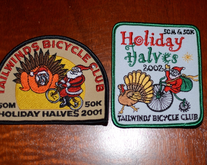 Tailwinds Bicycle Club (Santa Maria California) Holiday Halves 50M 50K Embroidered Clothing Patch Cycling Keepsake Rider Collectible Memento