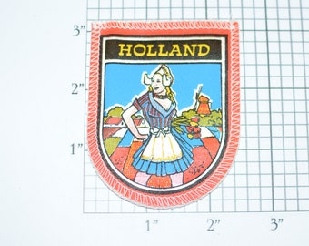 Holland Nederland Windmill Beautiful Girl Vintage Sew-on Travel Patch Souvenir Memorabilia Emblem Crest Woven Badge Collectible Keepsake