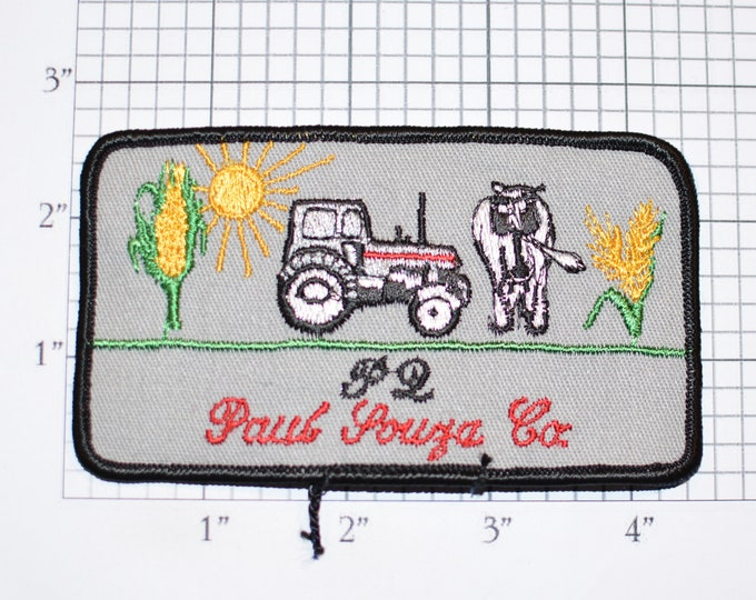 Paul Souza Co Tractor Cattle Corn Farming Iron-on Embroidered Clothing Patch Plants Agriculture Crops Logo Work Shirt Emblem Crops Farmer