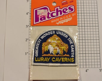 Luray Caverns (Virginia) Greatest Wonder Under The Earth (Voyager Badge Sealed Pkg) Vintage Iron-on Travel Patch Souvenir Collectible Crest