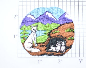 Animals Sitting In Nature Sew-on Vintage Embroidered Clothing Patch (No Border, Hand Cut) Outdoor Scene Cute Fun Applique DIY Fashion Accent