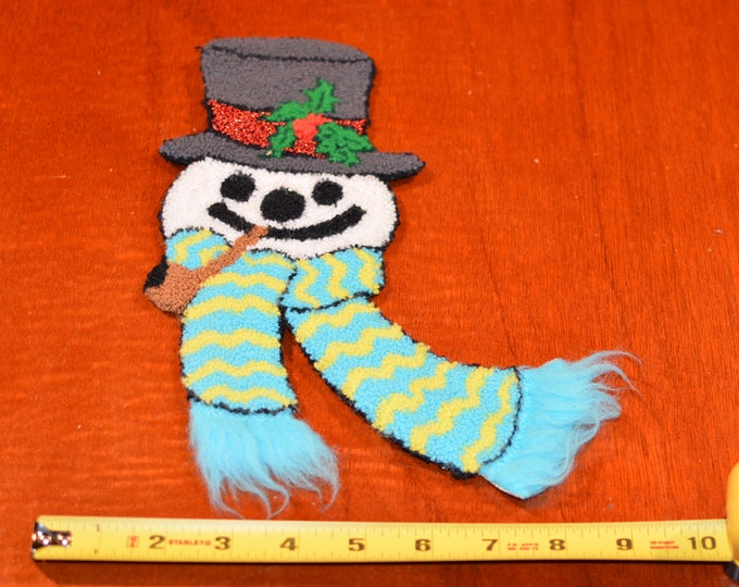 Soft Fuzzy Thick Snowman Christmas Xmas Vintage Sew-on Clothing Patch Patch Clothing Jacket Shirt Blanket Pajamas Fun Sewing Craft Idea