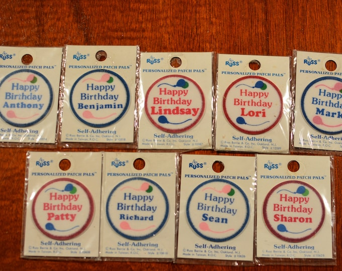 Russ (TM) Berrie Happy Birthday (Vintage Original Sealed Package) Stick-On / Sew-on Personalized Patch Pals Self-Adhering Celebration Badge