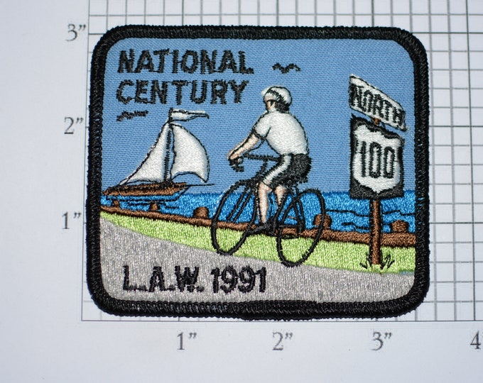 LAW (League of American Wheelmen) 1991 National Century Vintage Iron-on Embroidered Patch Cycling Keepsake Collectible Memento Badge Emblem