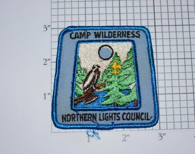 Camp Wilderness Northern Lights Council Minnesota BSA Sew-On Vintage Embroidered Clothing Patch Uniform Shirt Jacket Boy Scouts Badge