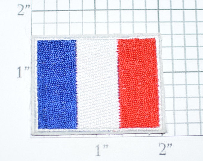 France Flag Iron-On Vintage Embroidered Applique Patch DIY Clothing Project Sewing Crafts Scrapbook Trip Memorabilia French Pride e26d
