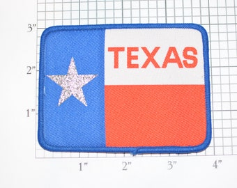 Texas State Flag with Metallic Silver Star Sew-On Vintage Embroidered Travel Patch Emblem Badge Trip Souvenir Gift Idea Collectible Keepsake
