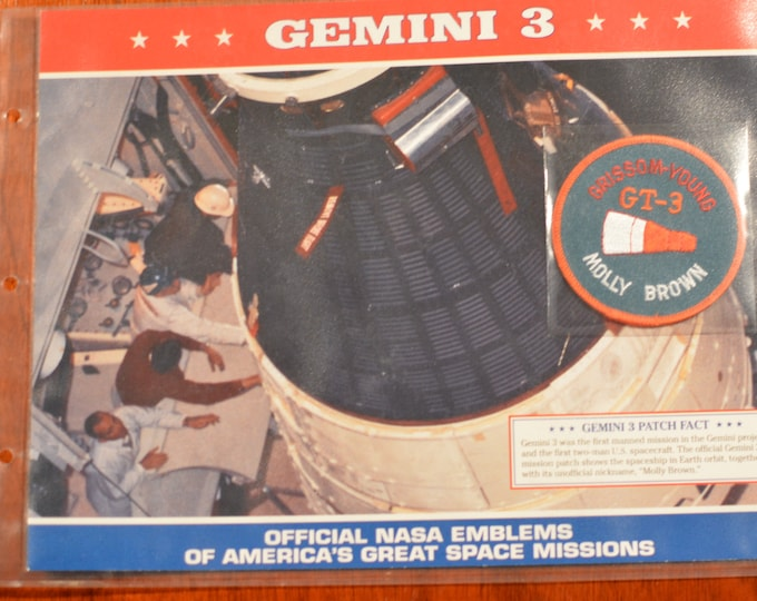 """Gemini 3 """"Official NASA Emblems of America's Great Space Missions"""" DISCONTINUED Mint Patch w/ Statistics and Fact Card in Protective Sleeve"""