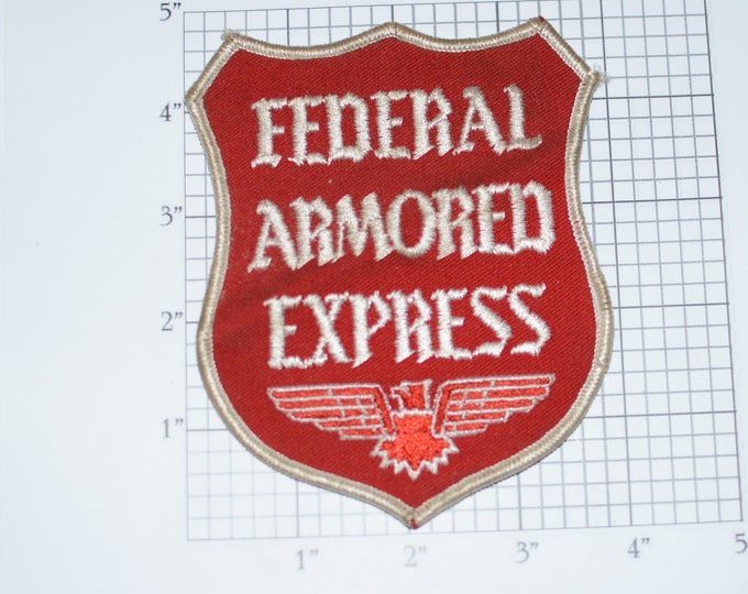 Federal Armored Express RARE Iron-On Vintage Embroidered Clothing Patch for Employee Uniform Shirt Jacket Emblem Logo Workshirt Armed Guard