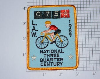 LAW (League of American Wheelmen) 1989 National Three Quarter Century Vintage Iron-on Embroidered Patch Cycling Keepsake Collectible Memento