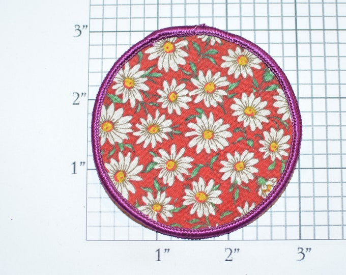 Flowers Sew-On Embroidered Round Clothing Patch for Jean Jacket Shirt Sewing Craft Project Boho Bohemian Hippie Fashion 1970s Retro Accent