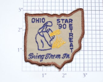 Ohio Star Retreat Bring Them In 1990 Vintage Iron-on Embroidered Clothing Patch Religious Jesus Bible Christian Faith Ministry Church Prayer