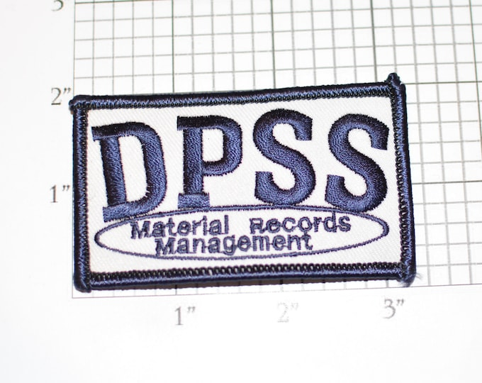 DPSS (Department of Public Social Services) Material Records Management Iron-On Vintage Clothing Patch for Employee Worker Jacket Shirt Vest