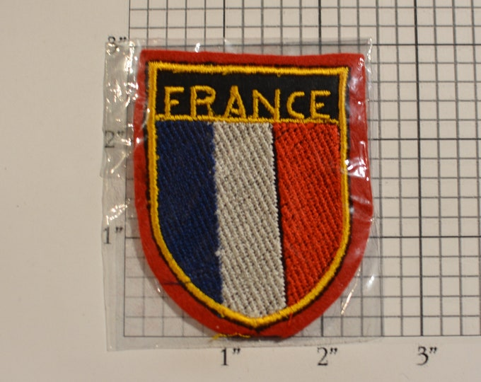 France Sew-On Vintage Embroidered Travel Patch Emblem Badge, Shield Flag, Trip Souvenir Gift Idea Collectible Vacation Holiday Memento