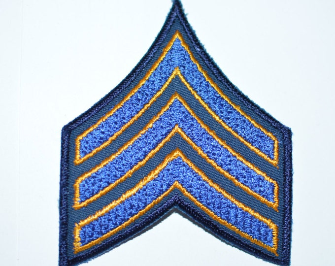 "Sergeant Chevrons - Sew-On Patch - Blue with Gold Outline on Dark Blue - 3-1/8"" wide x 3-3/4"" tall"