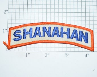 Shanahan Iron-On Vintage Embroidered Clothing Patch Top Rocker Tab Text Motorcycle Biker Jacket Vest Name Tag Emblem for Shirt Uniform DIY