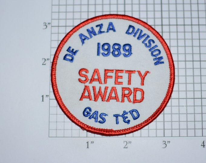 De Anza Division 1989 Safety Award Gas T&D (Transmission Distribution) Iron-On Vintage Embroidered Clothing Patch for Employee Uniform Logo