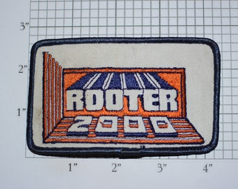 Rooter 2000 Iron-On Vintage Embroidered Clothing Patch (Dingy) Employee Uniform Shirt Emblem Workshirt Company Plumbing Contractor Insignia