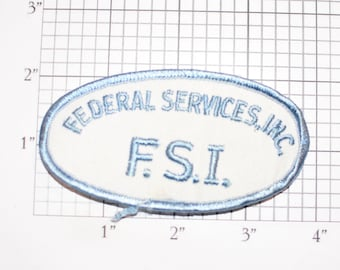 Federal Services Inc F.S.I. Company Vintage Iron-on Embroidered Clothing Patch for Uniform Shirt Jacket Vest Insignia Logo Emblem Insignia